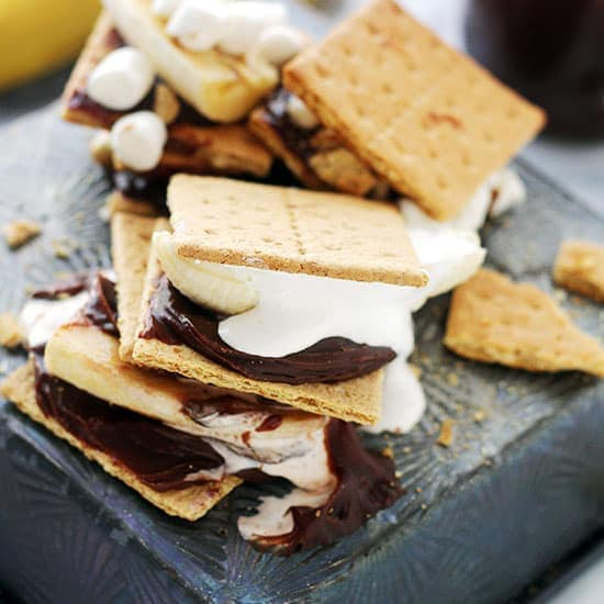 Chocolate and Peanut Butter Banana Smores Recipe by Diethood Chocolate Crackers
