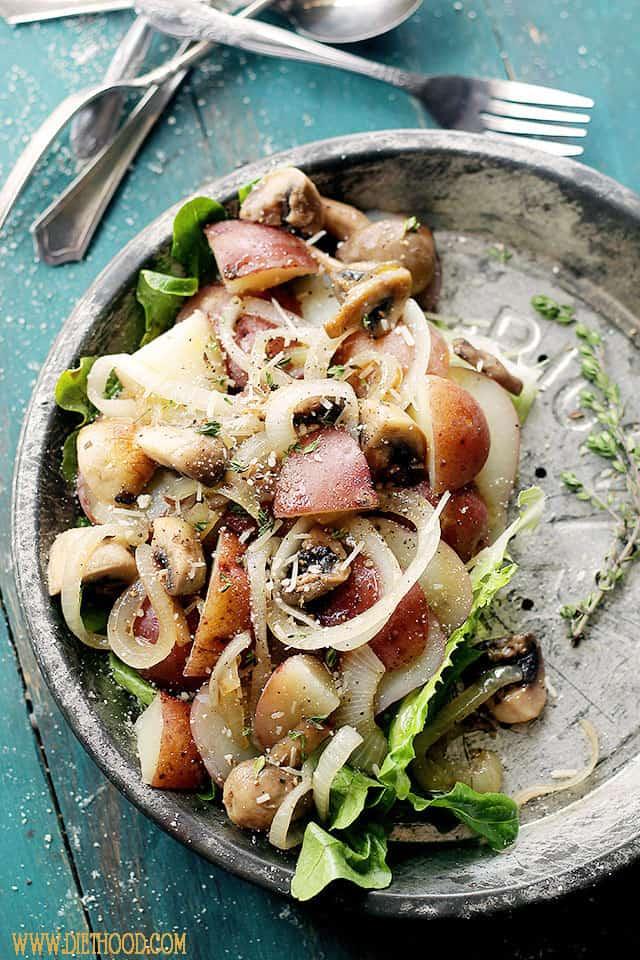 Dijon Potato Salad with Mushrooms and Onions | www.diethood.com | This delicious potato salad with mushrooms and onions, tossed with a beautiful, tangy dijon mustard dressing, is one of my family's favorite side-dish salads. | #potatoes #recipe #potatosalad #salad