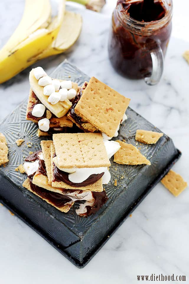 Peanut Butter Chocolate Banana Smores from Diethood Chocolate Peanut Butter Banana Smores