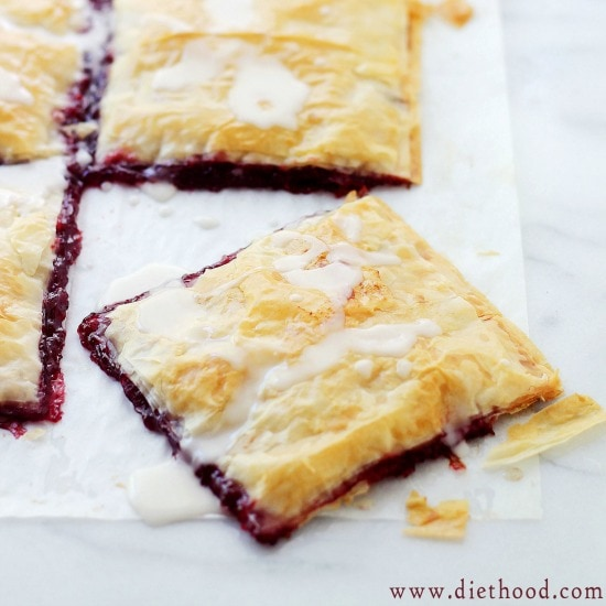 Phyllo Raspberry Pop Tarts with Vanilla Glaze Recipe at Diethood Phyllo Wrapped Chocolate Pear Dumplings