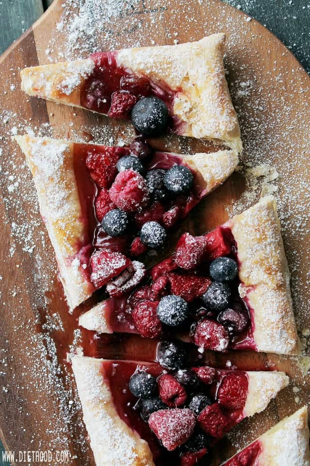 Roasted Berries Tart | www.diethood.com | This Roasted Berries Tart, made with puff pastry and fresh berries, is sweet, tart, impressive, and best of all, quick and easy! | #recipe #berries #dessert