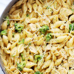 Chicken-Broccoli Shells and Cheese | www.diethood.com | Homemade, healthier shells and cheese, tossed with chicken and broccoli florets. | #pasta #chicken #recipes