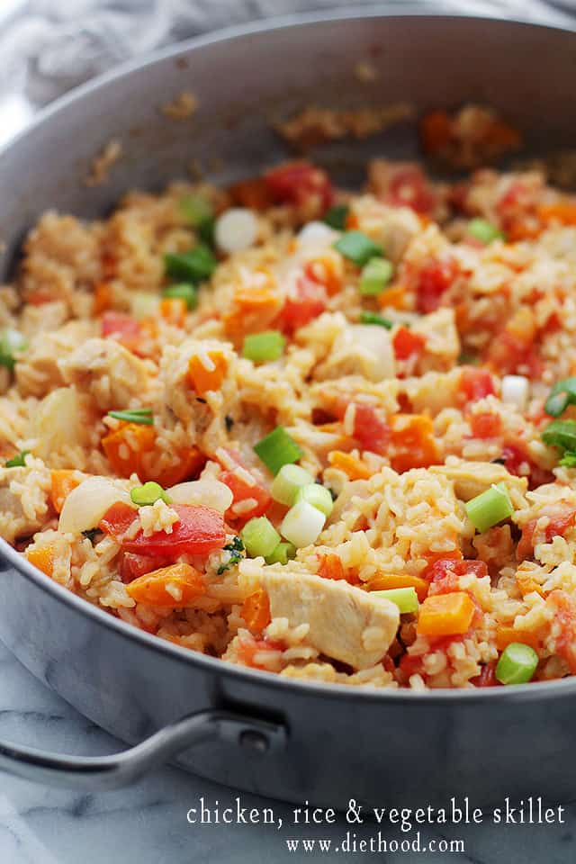 Chicken Rice and Vegetable Skillet from Diethood Chicken Rice and Vegetable Skillet
