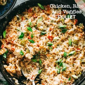 Chicken, Rice and Vegetable Skillet - Deliciously seasoned bed of rice chock-full of chicken pieces, veggies, and so much flavor! Everything you need for a delicious dinner made in just one skillet!