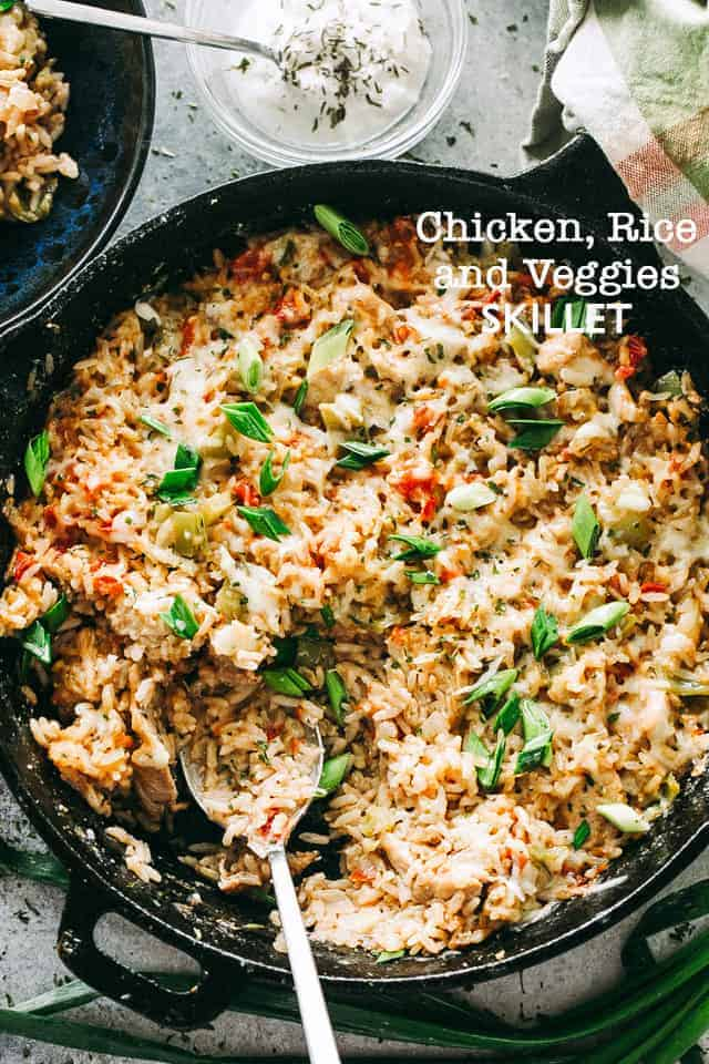 Chicken Rice And Vegetable Skillet Easy One Skillet Chicken Dinner Idea
