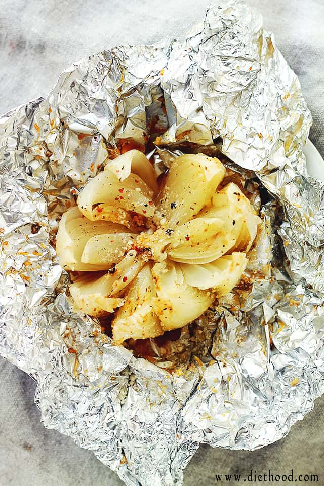 Grilled Onion Blossom at Diethood Grilled Blooming Onion