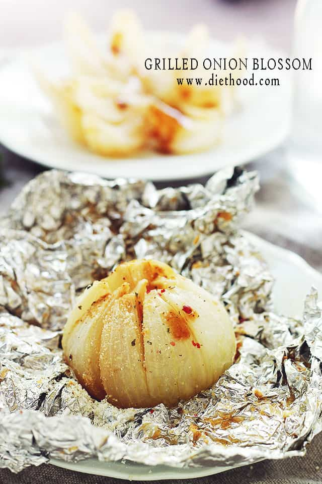 Grilled Blooming Onion set on aluminum foil