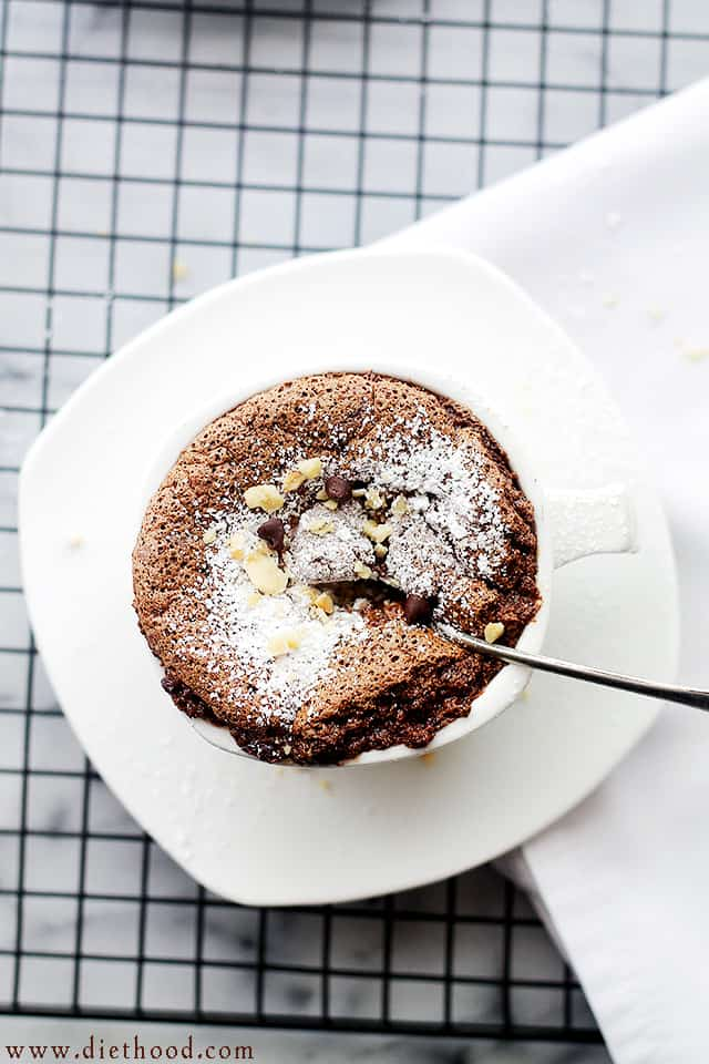 Boozy Hazelnut Chocolate Souffle | www.diethood.com | Made with delicious chocolate and hazelnut liqeuer, this elegant, French dessert may look like a lot of work, but you'll be surprised to see just how incredibly easy it is to make! | #recipe #chocolate #souffle
