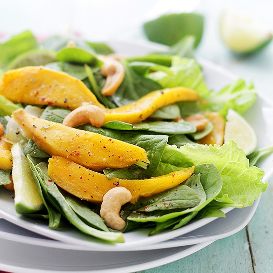 Mango Spinach Salad Recipe by Diethood Mango Spinach Salad with Honey Lime Dressing