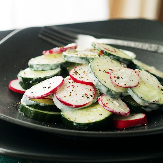 Radish Cucumber Salad Recipe at Diethood Radish and Cucumber Salad with Garlic Yogurt Dressing