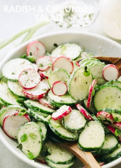 Radish and Cucumber Salad with Garlic-Yogurt Dressing: Deliciously crunchy slices of cucumbers and radishes tossed with a creamy and garlicky yogurt dressing.