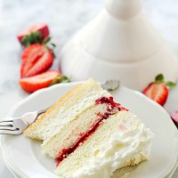 Strawberry Shortcake Cake | www.diethood.com | Layers of moist, buttery cake filled with strawberry pie filling and whipped cream frosting. | #recipes #cake #strawberries