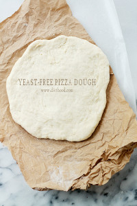 Yeast-Free Pizza Dough | www.diethood.com | Fast and simple recipe for Pizza Dough made without yeast that is delicious and SO easy to make! | #pizza #pizzadough #recipes