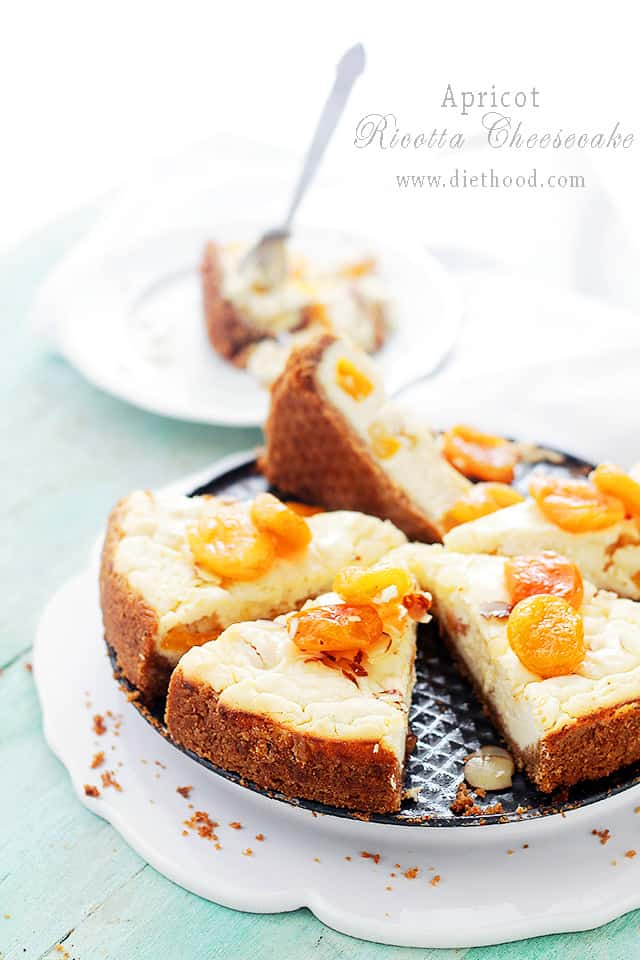 Apricot and Ricotta Cheesecake at Diethood Apricot Ricotta Cheesecake