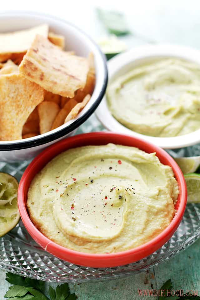 Feta Cheese and Avocado Hummus Dip | www.diethood.com | Chickpeas blended with feta cheese and avocado. | #recipe #hummus #appetizers #avocado