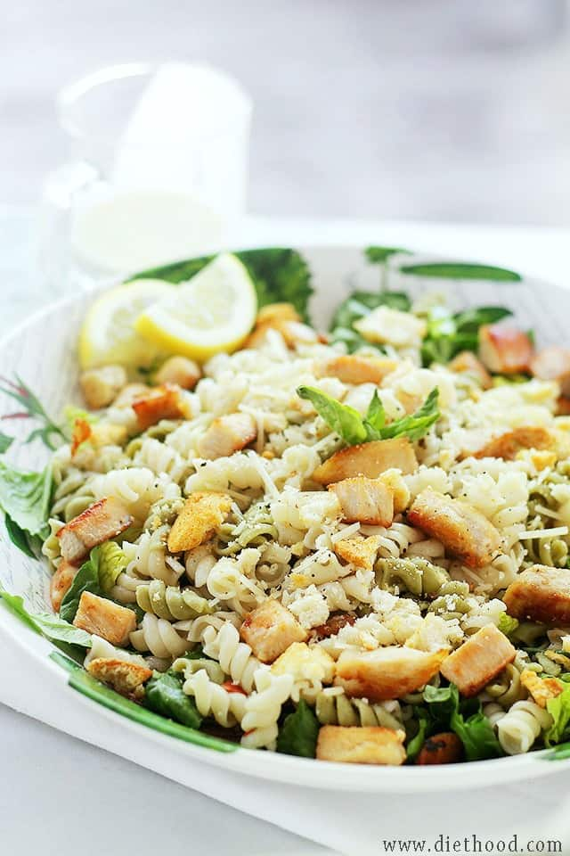 Chicken Caesar Pasta Salad with Light Caesar Dressing | www.diethood.com | #recipe #chicken #caesarsalad
