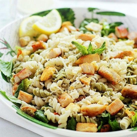 Chicken Caesar Pasta Salad Recipe by Diethood Chicken Caesar Pasta Salad with Light Caesar Dressing