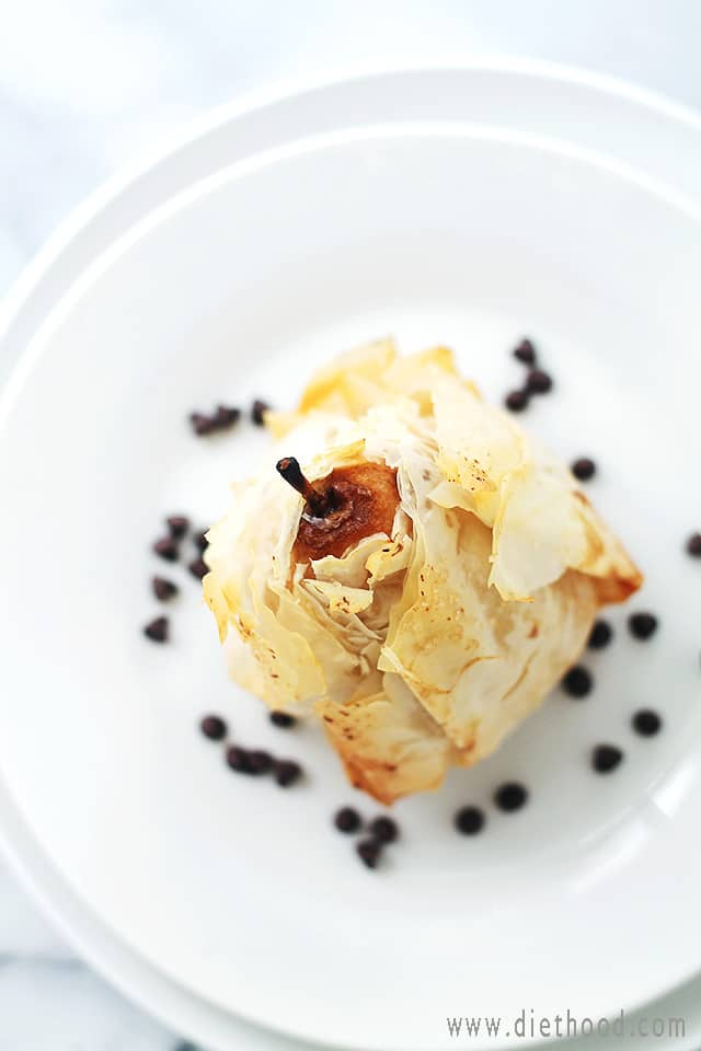 Phyllo-Wrapped Chocolate Pear Dumplings | www.diethood.com | These beautiful pears are stuffed with a chocolate-walnut mixture, and wrapped in crispy, flaky phyllo dough sheets. | #chocolate #recipes #chocolateparty