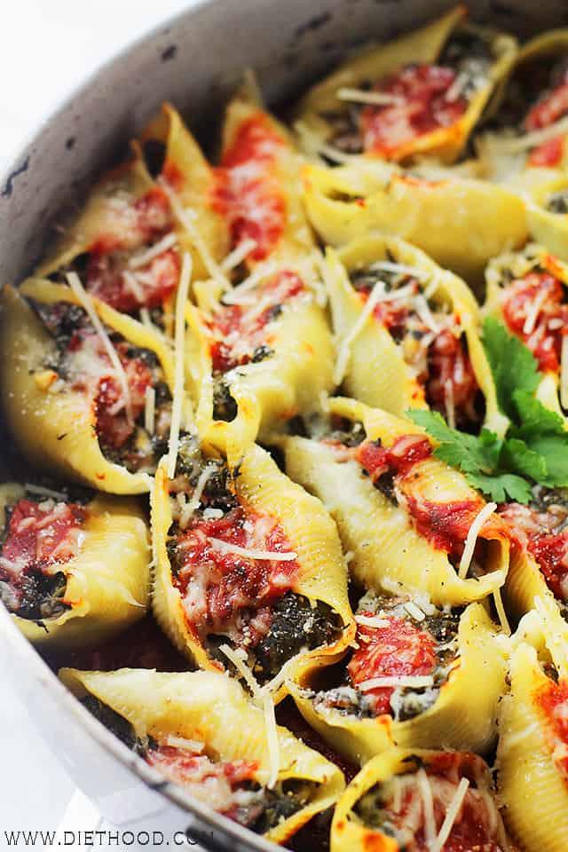 Stuffed Shells Florentine, ITALIAN recipes, pasta, vegetarian food