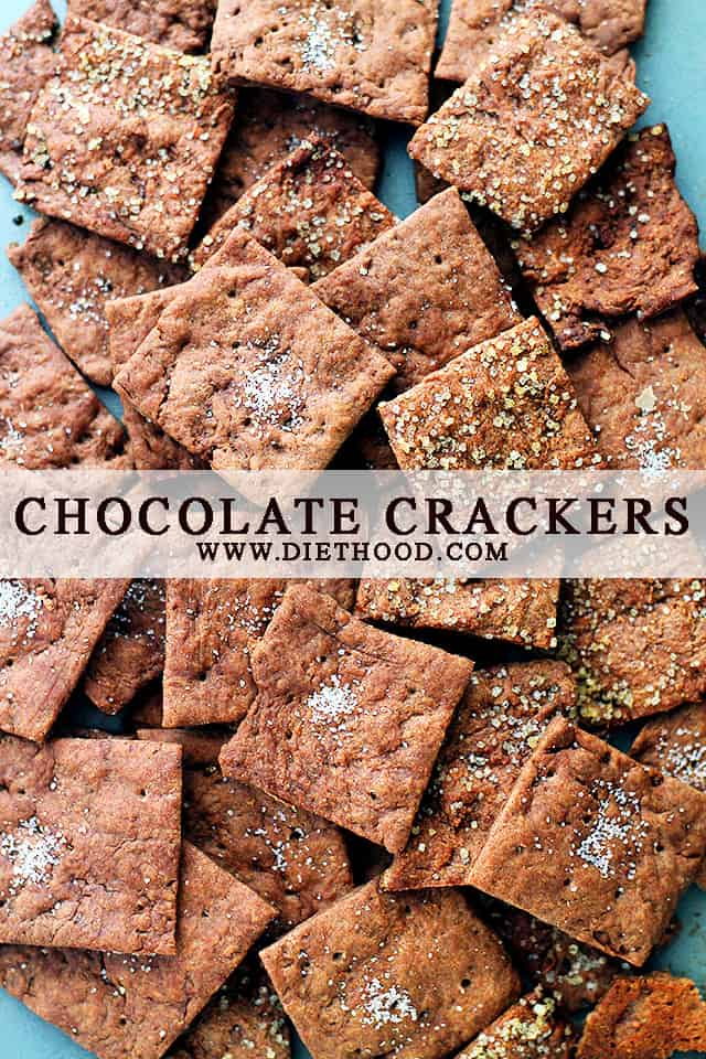 Chocolate Crackers | www.diethood.com | No butter, no sugar, Chocolate Crackers made with just a few basic ingredients, including olive oil and cocoa powder.