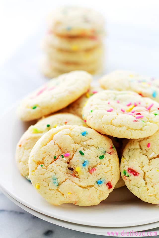 Cake Batter Funfetti Cookies served on a plate.