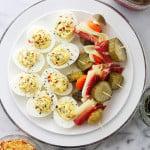 Deviled Eggs and Antipasto Skewers