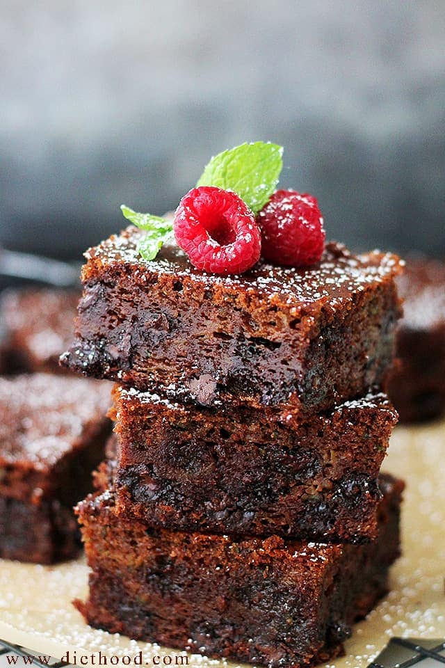 Stacked UP Gluten Free Double Chocolate Zucchini Brownies