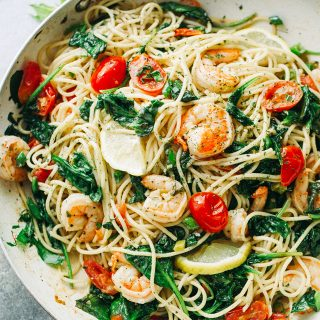 Lemon Shrimp and Spinach with Spaghetti