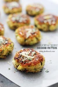 Garlicky & Cheesy Quinoa Zucchini Fritters | Easy Zucchini Recipe