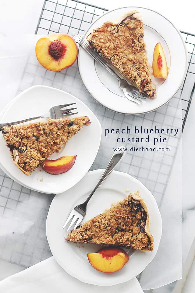 Peach Blueberry Pie Peach Blueberry Custard Pie with Streusel Topping