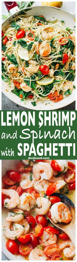 Lemon Shrimp and Spinach with Spaghetti -A quick and absolutely delicious spaghetti dinner tossed with shrimp, spinach, tomatoes, garlic, and lemon juice.