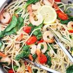 Lemon Shrimp and Spinach Spaghetti