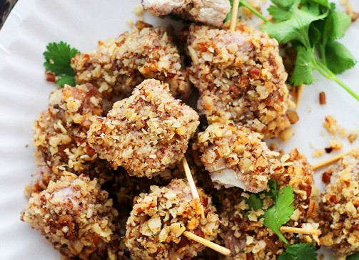 Tortilla Chips and Pecans-Crusted Chicken Nuggets | www.diethood.com | Baked, healthier chicken nuggets covered in a delicious and crunchy mixture made with tortilla chips and pecans.