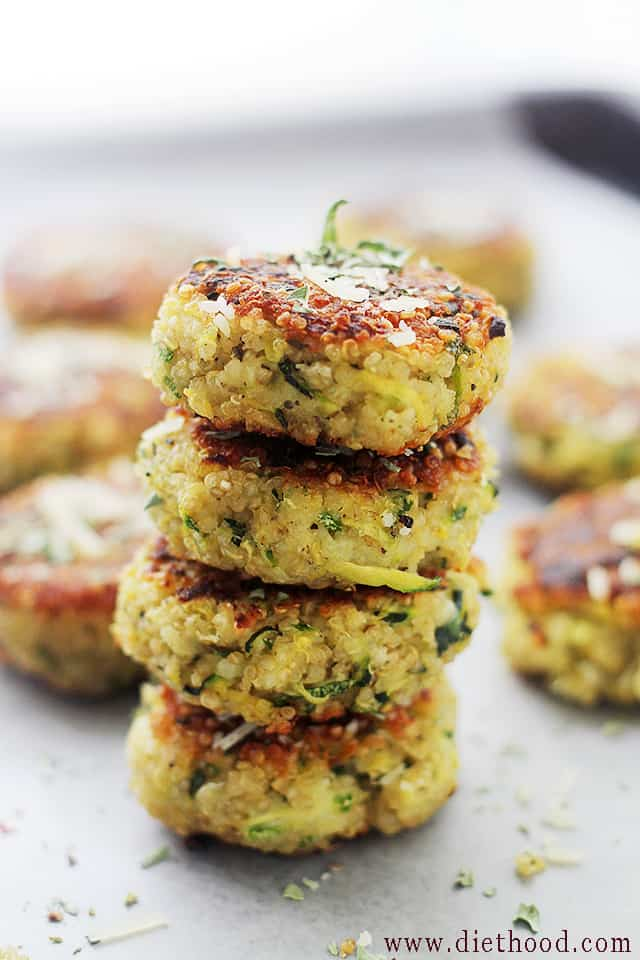 Garlicky & Cheesy Quinoa Zucchini Fritters | www.diethood.com | Packed with Quinoa and Zucchini, these Fritters are super delicious and very easy to make!