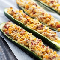 Cheesy Bacon and Corn Stuffed Zucchini | www.diethood.com | Zucchini halves stuffed with an insanely delicious mixture of cheese, bacon and corn!