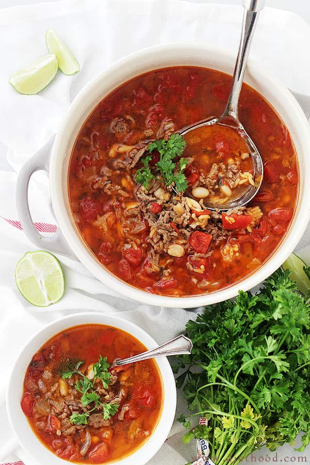 Chorizo, Rice and Bean Soup | www.diethood.com | Spicy chorizo sausage adds amazing flavor to this easy, warm and comforting Bean Soup.