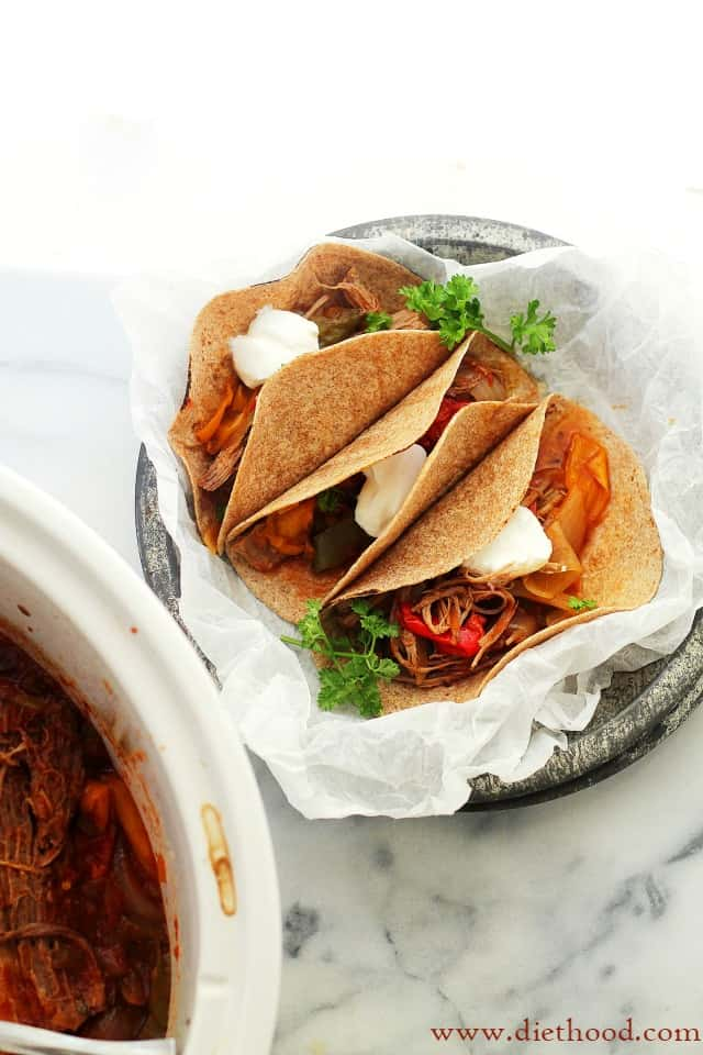 Crock Pot Beef Fajitas Recipe | Diethood