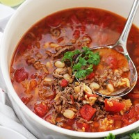 Chorizo, Rice and Bean Soup   www.diethood.com   Spicy chorizo sausage adds amazing flavor to this easy, warm and comforting Bean Soup.