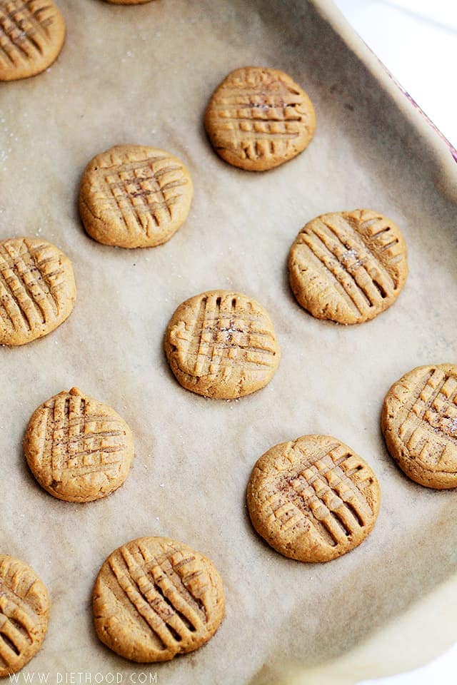 Peanut Butter Cookies on a baking tray.