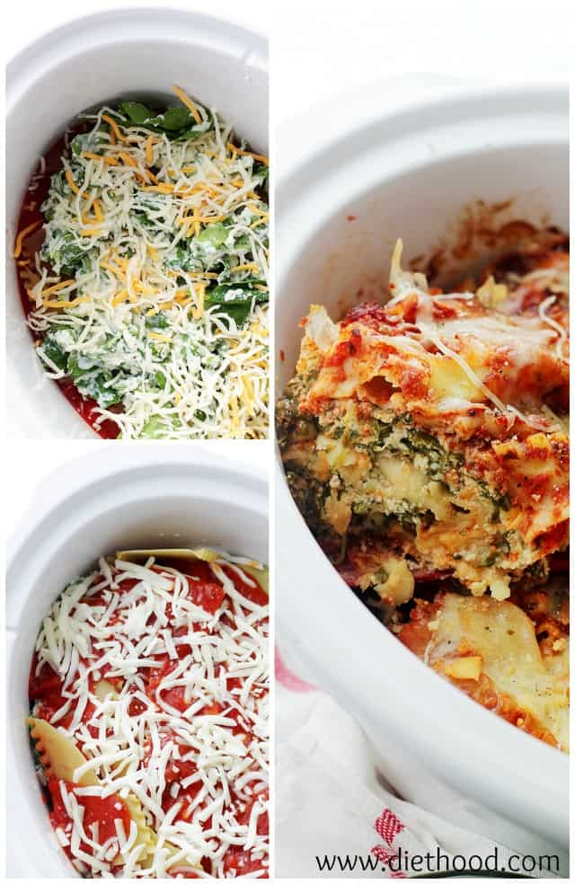 Spinach and Feta Crock Pot Lasagna | www.diethood.com | Layers of spinach, feta and light ricotta nestled between sheets of lasagna noodles. Place all the ingredients in the Crock Pot and walk away.