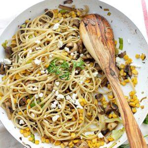 Leek and Mushroom Fettuccine with Corn and Feta