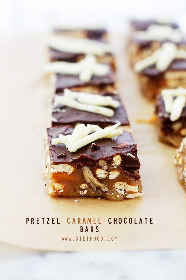 Pretzel Caramel Chocolate Candy Bars Recipe | Diethood