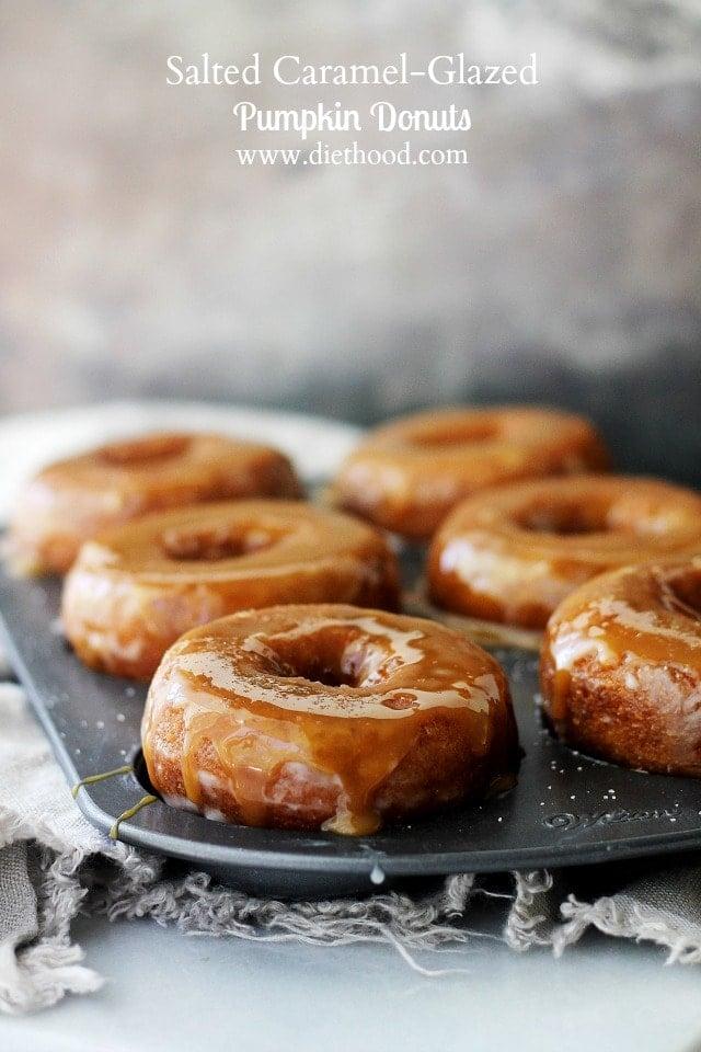 Salted Caramel-Glazed Pumpkin Donuts | www.diethood.com | Baked Pumpkin Donuts dipped in Salted Caramel Sauce.