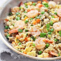 Shrimp Fried Rice | www.diethood.com | Loaded with shrimp, this Fried Rice is made with fragrant Success® Basmati Rice and vegetables!
