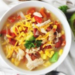 Crock Pot White Chicken Chili | www.diethood.com | Packed with all the Southwestern flavors that we love, this chili is beyond delicious, healthy, and chock full of chicken, corn, tomatoes, and beans. Beer, too. For good measure.