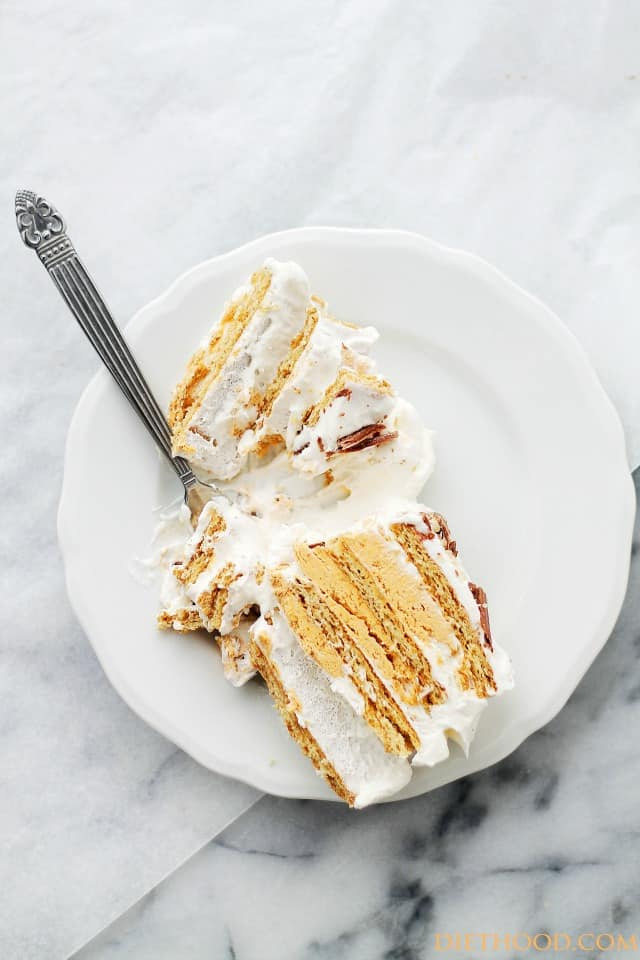 Pumpkin Mousse Ice Box Cake | www.diethood.com | No-bake ice box cake ...