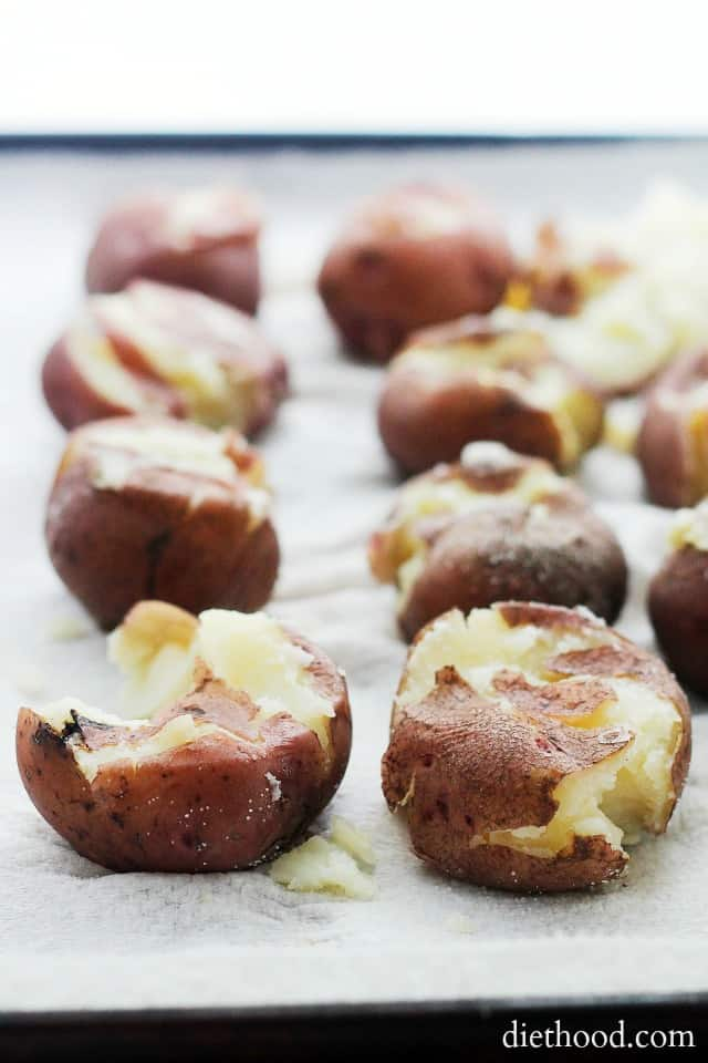 Crispy Parmesan Smashed Potatoes | www.diethood.com | Deliciously ...