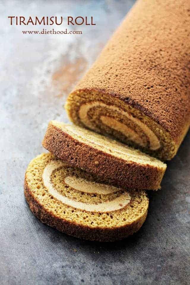 Picture of a sliced Tiramisu Cake Roll