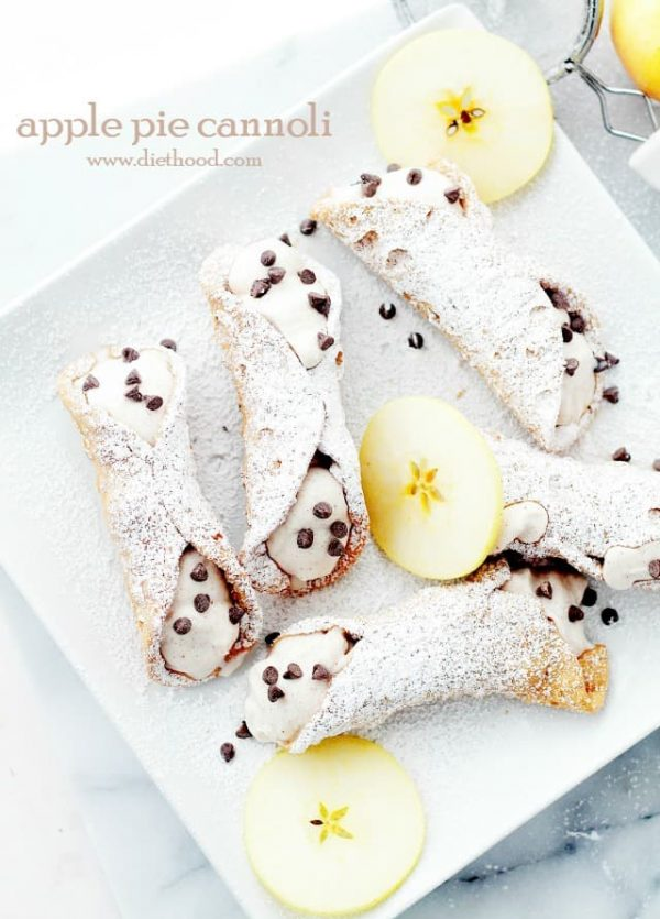 Apple Pie Cannoli | www.diethood.com | Crispy Cannoli shells filled with a decadent Apple Pie Ricotta Cream.