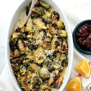 Bacon and Cheese Brussels Sprouts Casserole + My Thanksgiving Menu